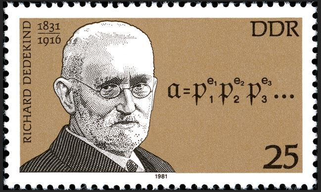 DDR (Germany) The 150th Anniversary of the Birth of Richard Dedekind May 5, 1981 Julius Wilhelm Richard Dedekind (1831 – 1916) was a German mathematician who made important contributions to abstract algebra, algebraic number theory and the definition of the real numbers. The design shows a portrait of Dedekind and the formula of Dedekind section.