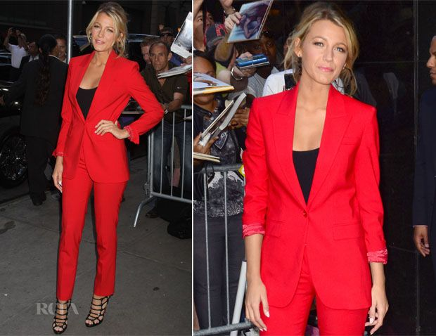 Blake Lively looked stunning once again as she made her way to the ABC studios for her guest appearance on 'Good Morning America'.  She looks great wearing this Michael Kors Pre-Fall 2012 suit.  For someone who doesn't have a stylist and who usually goes for the obvious this is an excellent choice for a morning TV show. I love that bold crimson red which she paired with a black tank top.  Sexy, chic, modern and grown up.