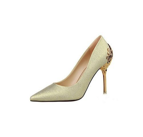 Stunning Pumps Pointed Toe Gold Stiletto Shoes w/ Metallic Sculptured High Heel #Unbranded #PumpsClassics