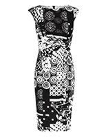 Black & white print Sheath dress