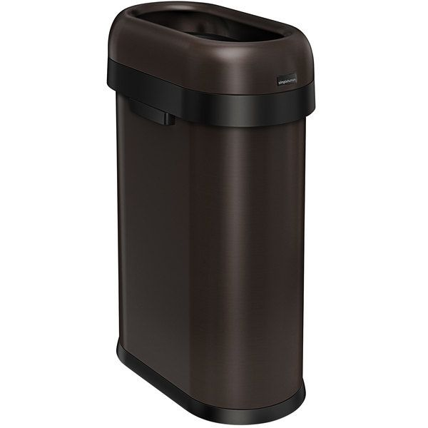 Simplehuman Cw1477 13 Gallon 50 Liter Dark Bronze Stainless Steel Slim Open Top Oval Trash Can In 2021 Simplehuman Trash Can Gallon Simplehuman trash can 13 gallon