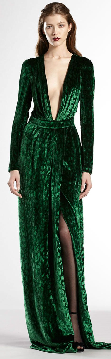 Velvet Deep V-Neck Gown by Gucci.