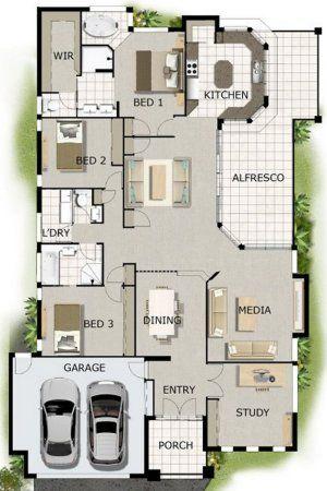 4 Bed + 2 Bath + Home Cinema house plan