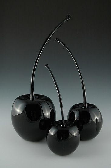"""Black Cherries.""""Black Cherries"""" Art Glass Sculpture Created by Donald Carlson These beautiful pieces are a new addition to Carlson's line of cherries. Each cherry is blown meticulously into perfect form."""