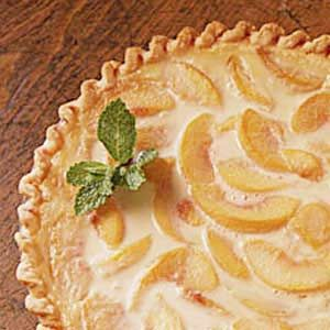 Easy Peach Cream Pie- I can't believe I found this recipe. My mother in law made this. Want to make this for my family someday.