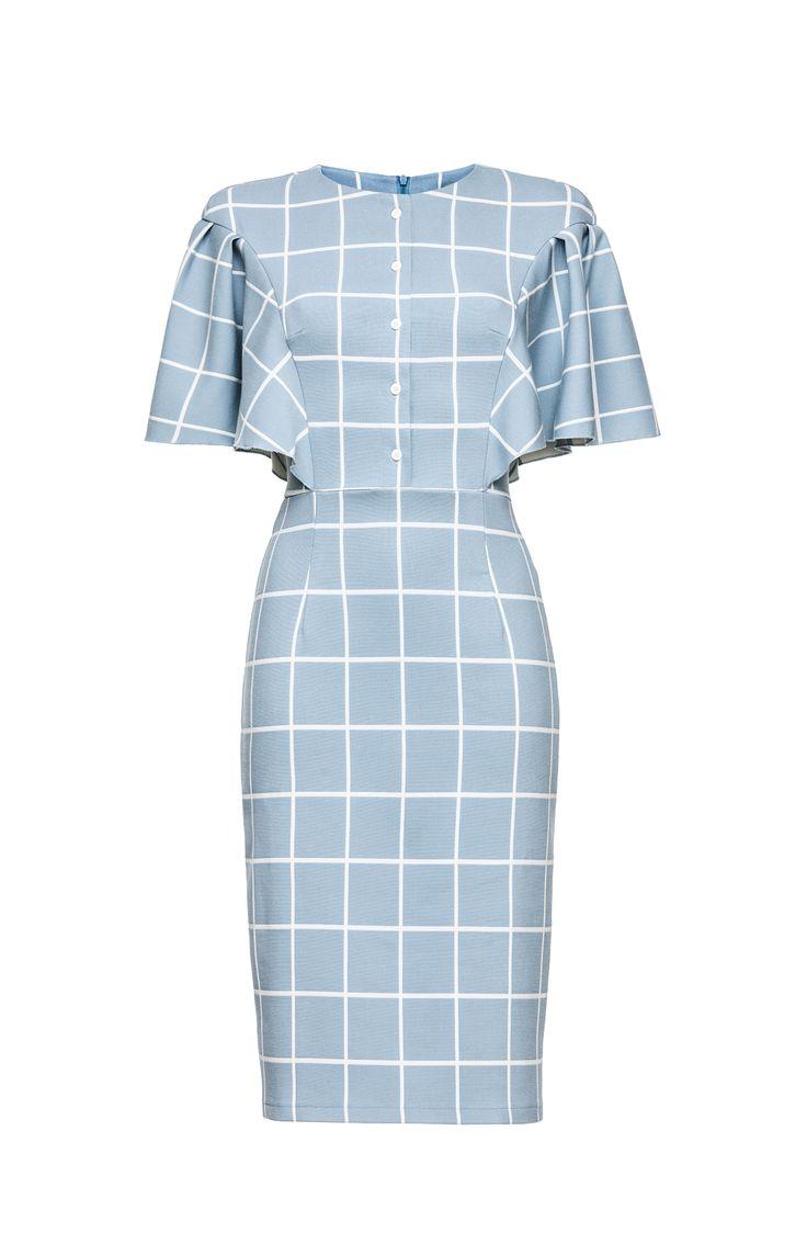2264 Платье-футляр голубое в белую клетку, с планкой и пышными рукавами купить в Украине, цена в каталоге интернет-магазина брендовой одежды Musthave