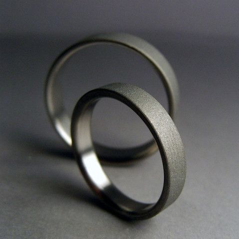 Modern Handmade Titanium wedding band set -- satin and gray