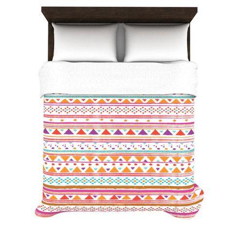 "Nika Martinez ""Native Bandana"" Woven Duvet Cover | KESS InHouse #tribal #pattern #cute #sweet #hipster #kess #inhouse #nika #martinez #pink #orange #duvet #cover #bedding #home #decor #trend #abstract #geometric #geo #aztec #native #girly #bed #bedroom #stripes #pattern"