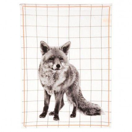 Fox Print Tea Towel - animal pattern towel - Present Time