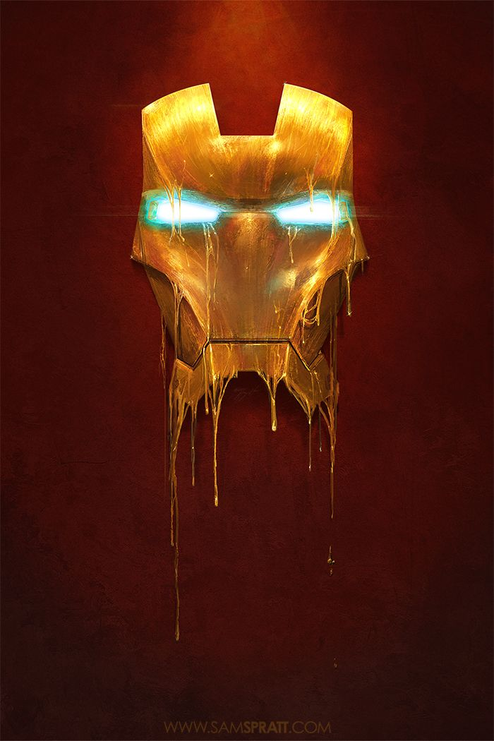 Geek Art: Melting Iron Man Faceplate. A movie spoiler maybe??