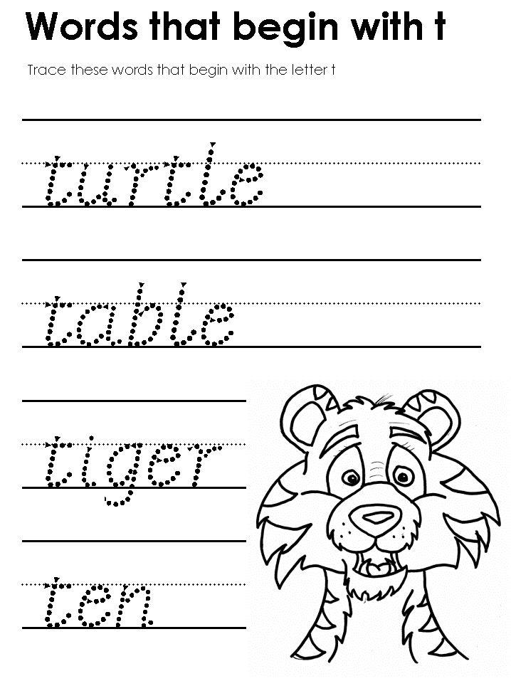 Words that start with t preschool letter t pinterest