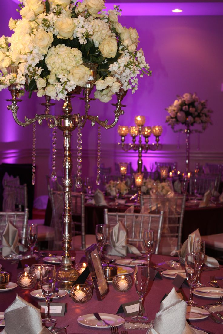 Purple And Silver Wedding Reception Centerpieces Event