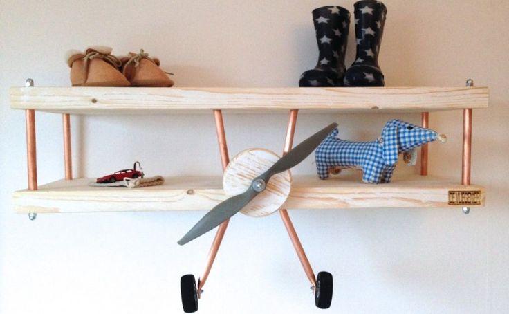 kinderkamer vliegtuig wandplank voorkant1 - de-vliegenier.nl