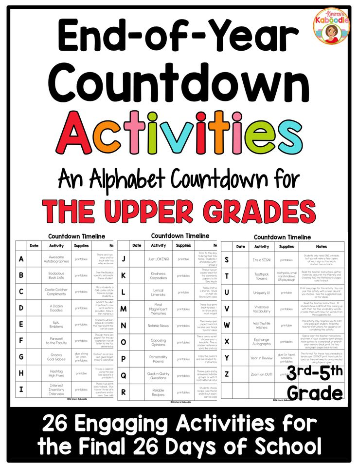 This Alphabet Countdown Activities for Upper Grades is perfect for the end of the year!  It is FULL of activities, 26 of them to be exact, and they are all engaging, enlightening, interactive, and fun!  The product includes all the printables you will need to complete the activities.  Some activities include constructing a timeline, making a cootie catcher, creating a goal globe, and developing class emblems.  Easy to prepare and fun for students, any 3rd, 4th, or 5th grade teacher will love…