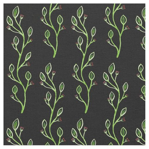 Folk Art Floral Fabric in black red and green #2
