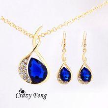 Женская 18 К желтая позолоченные изумрудное / белый / синий сапфир австрийских кристаллов комплект цепь ожерелье + серьги бесплатная доставка(China (Mainland))