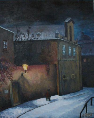 """Malba s názvem Zimní ulice od autora """"LEE"""" www.artsell.cz"""
