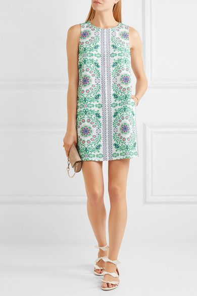 Tory Burch - Garden Party Printed Linen-blend Mini Dress - Green - x large