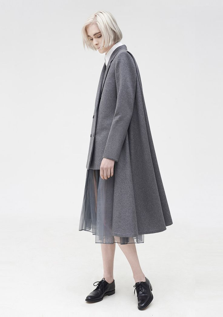 Contemporary Fashion - high-low coat, innovative pattern cutting // Youjia Jin