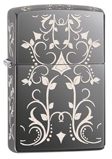 A Western-style filligree pattern is laser engraved onto a Black Ice® base model to create a lighter design stunning enough to be considered jewelry.