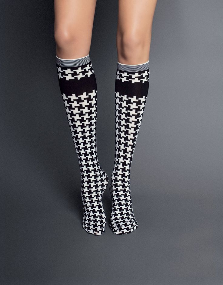 $9.31      Felicita Houndstooth Knee-Highs by Veneziana.    http://thestylishfox.com/patterned-knee-highs-socks/101-felicita-houndstooth-knee-highs-by-veneziana.html