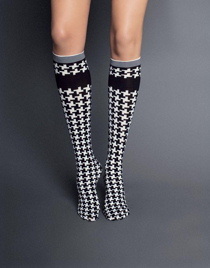 $9.31      Felicita Houndstooth Knee-Highs by Veneziana.    http://thestylishfox.com/patterned-knee-highs-socks/101-felicita-houndstooth-knee-highs-by-veneziana.html
