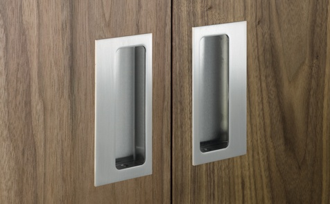 Ironmongery Flush Pull Handle Rectangular Satin