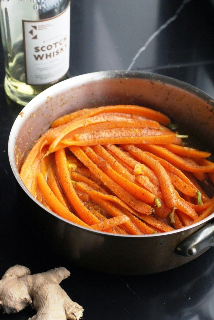 carottes glacées gingembre et whisky - Ginger and whisky glazed carrots