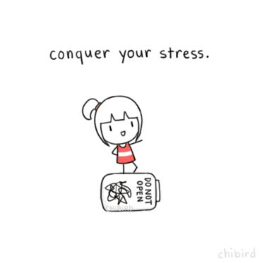 Its not that easy, but a lot of stress can be controlled by changing your situation or how you react to it. ^^ I get stressed out because I worry too much, so Im trying to stay positive and believe in good outcomes.