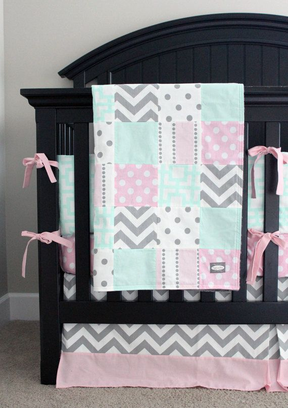 Pink, Mint and Grey Baby Bedding, Pink Girl Crib Bedding - Baby Girl Crib Set by GiggleSixBaby on Etsy https://www.etsy.com/listing/211173094/pink-mint-and-grey-baby-bedding-pink