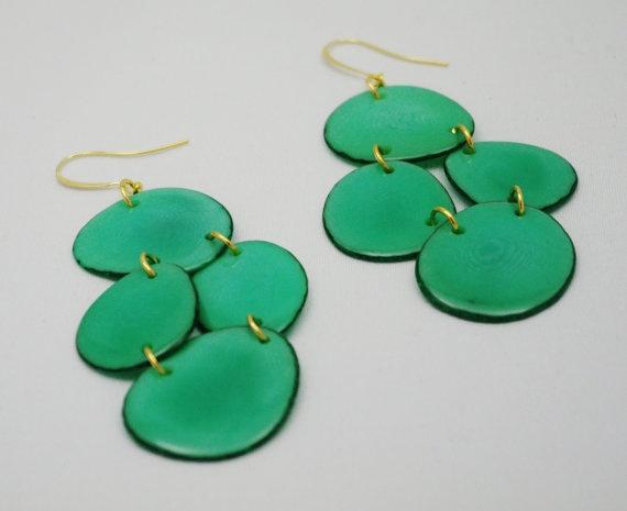 Teal Green Tagua Chandelier Earrings