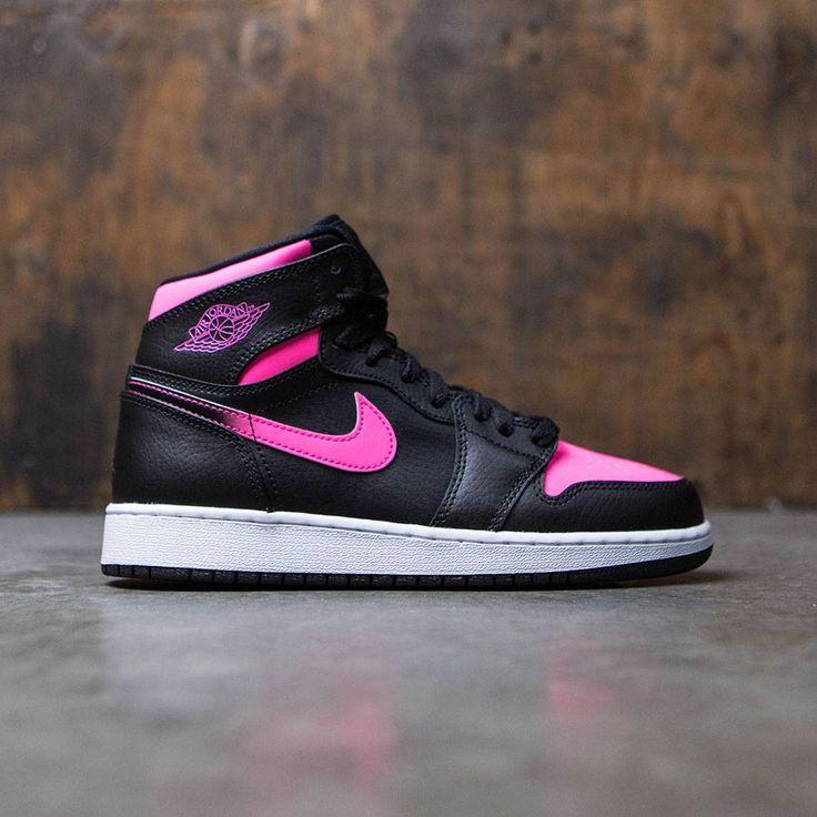 air jordan 1 retro high (gs) big kids girls (black  black hyper pink white)