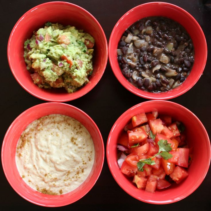 So excited about dinner tonight that getting really annoyed at the kids because they are not hungry yet.   Wraps with Guacamole, Black Beans, Hummus & Salsa.  Not sure if I can wait.