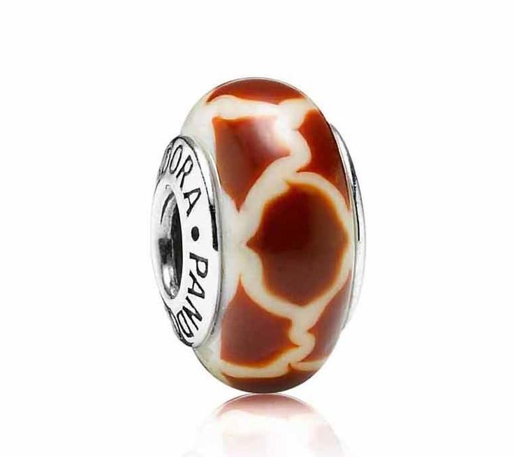 Pandora Giraffe Print White & Brown Murano Glass Charm to go with my giraffe charm so cute
