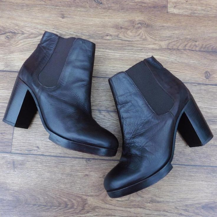 SIZE UK 5 COS BROWN LEATHER HEELED CHELSEA BOOTS ELASTICATED PANEL PULL ON BOOTS