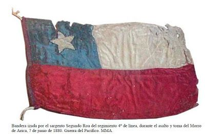 Bandera izada por el Sargento Segundo Roa del Regimiento 4° de Línea durante el asalto y toma del Morro de Arica.
