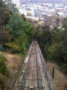 Looking down the funicular railway from the top of Cerro San Cristobal, in the Bellavista neighbourhood.  Santiago// Chile// Travel// Backpacking// Tips// Things to do