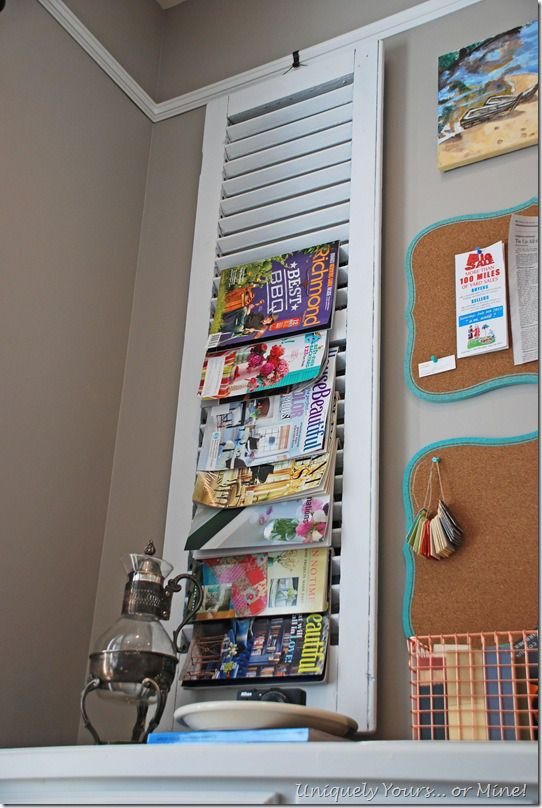 Repurposing a vintage wood shutter as magazine storage. Years ago I typed up labels with names & phone #'s and put one side of shutter. Decorated the other side, and opened when I needed a number ;-)