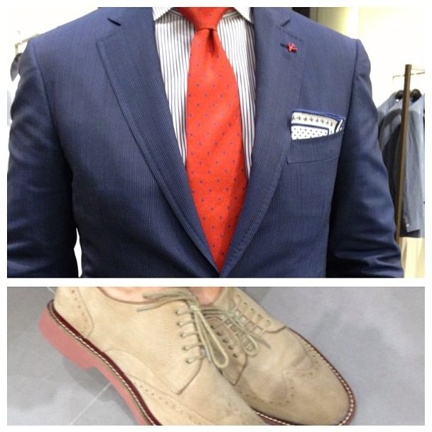 Love this orange tie with the striped shirt todo isaia for Navy suit checkered shirt
