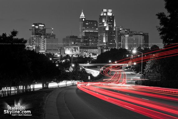 I want this split in three photos, framed, and hung on the wall in my dining room! Black and White Raleigh Skyline Print by caraleighthreads on Etsy, $40.00