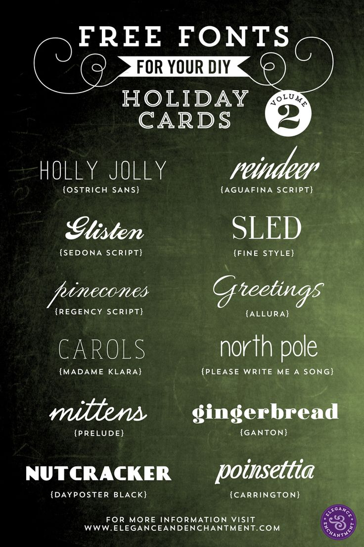 Free Fonts for DIY Holiday Cards - Volume 2 | Elegance  Enchantment
