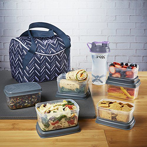 Fit & Fresh Jaxx FitPak Meal Prep Mini-Tote Bag and Container Set with 6 Leakproof Portion Control Containers, Ice Pack and 28-ounce Jaxx Shaker Bottle, Lilac Chevron:   All the features you love from the original Jaxx FitPak plus more packed into our brand new Jaxx FitPak Meal Prep Mini-Tote Bag! This FitPak features a top-loading compartment and full zip-around closure to make packing your daily meal prep even easier. Plus, additional interior space with collapsible wall is perfect t...