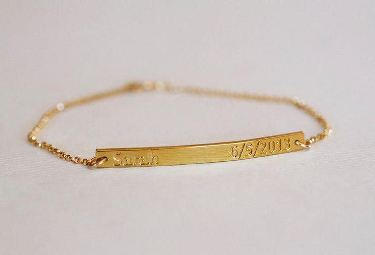 Custom Name Bracelet, Date Bracelet, Bridesmaid from Capucinne by DaWanda.com
