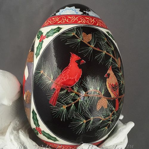 The Four Seasons Winter Buck #deer #pysanka #pysanky #pysankybysojeo #batik #art #eggshell #cardinal #cat #Christmas #tree #pine #stockings #madeinnovascotia | by so_jeo