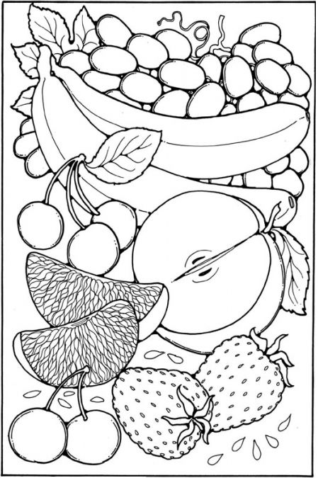 fruit coloring pages sheet free to print