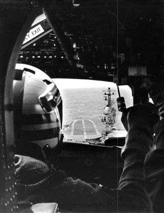A pilots view as a Tracker approaches HMAS Melbourne.