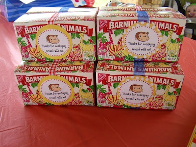 Curious George animal cracker party favors