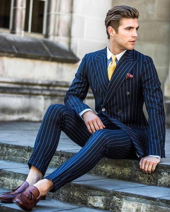 2018 Latest Coat Pant Designs Navy Blue Vertical Stripe Custom Made Groom  Wedding For Men Tailored Suit (Jacket+Pants) Blazer c5518a3ef1bb