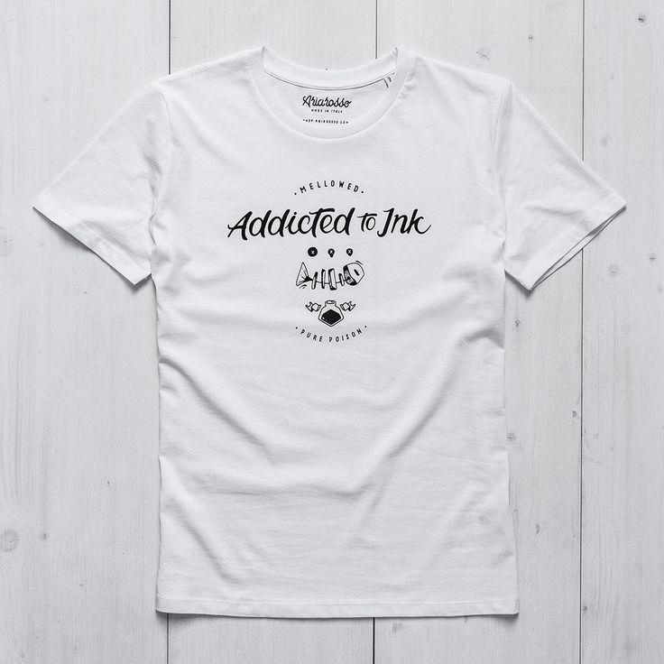 Mens Graphic Tee white organic cotton printed Addicted to Ink Ariarosso #tshirt #man #whitetshirt #inktshirt #tattootshirt