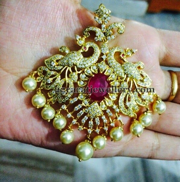 Jewellery Designs: 1 Gram Gold Latest Ruby Pendant